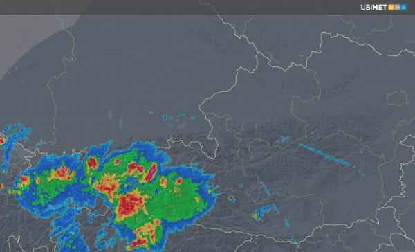 Radarbild um 19:35 Uhr MESZ - © UBIMET, Austrocontrol
