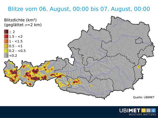 Blitzverteilung am Montag © UBIMET