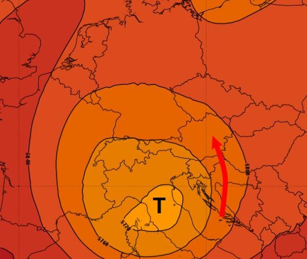 Das Tief führt sehr feuchte Luft in den Südosten des Landes.