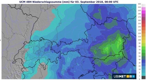 Vor allem im Südosten regnet es kräftig und gewittrig durchsetzt.