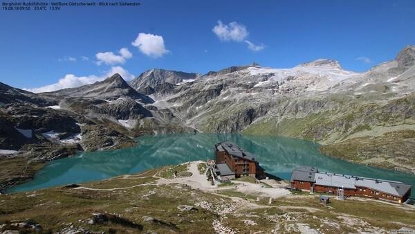 Aufnahme der Foto-Webcam oberhalb der Rudolfshütte am 19.08.2018 © https://www.foto-webcam.eu/webcam/rudolfshuette