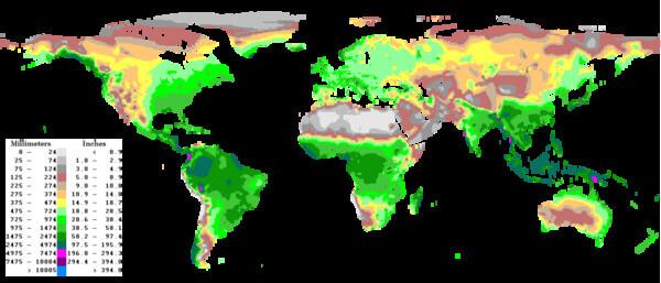 Blick auf die Regenverteilung der Erde.