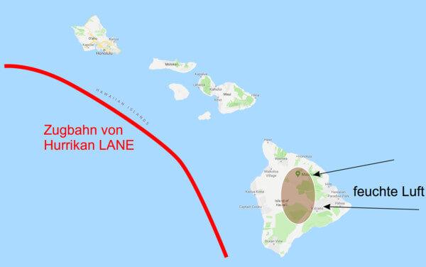 Zugbahn des Hurrikans LANE