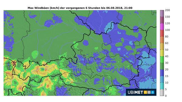 Windgeschwindigkeit der stärksten Windböen der letzten 6 Stunden bis 21:00 Uhr, 6.8.2018 © UBIMET