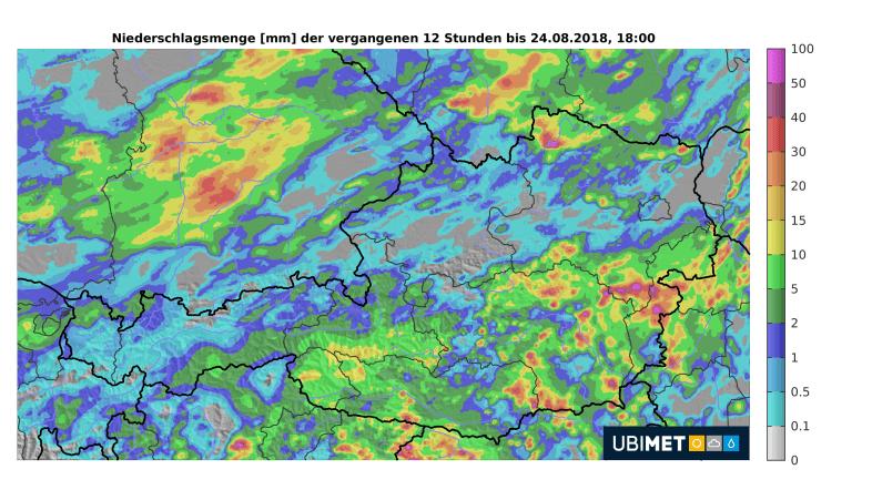 Akkumulierte Niderschlagsmenge der letzten 12 Stunden bis 18 Uhr MESZ - UBIMET, ZAMG, Austrocontrol, DWD