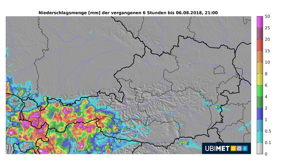 Niederschlagssumme der letzten 6 Stunden bis 21:00 Uhr, 6.8.2018 © UBIMET