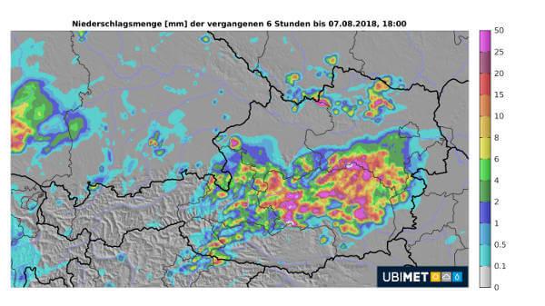Niederschlagsmengen der vergangenen 6 Stunden. © UBIMET