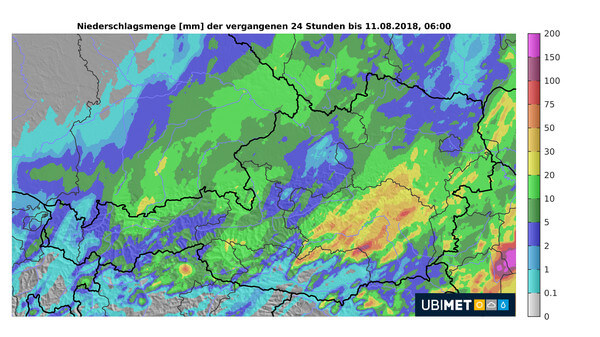 Regenmengen der vergangenen 24 Stunden bis 11.08.2018, 06:00 Uhr