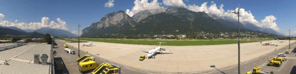 Aufnahme einer Panomax-Kamera (Ausschnitt) am 19.08.2018 © https://innsbruck-airport.panomax.com/