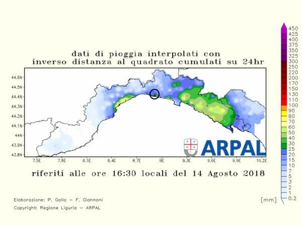 Große Regenmengen rund um Genua © https://www.arpal.gov.it/homepage/meteo/osservazioni/dati-omirl-areali/prec-cumulata-ieri.html