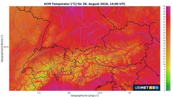 Sommerwetter im ganzen Land am Mittwoch © UBIMET