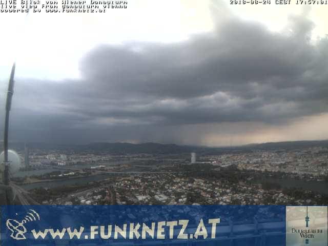 Gewitterstimmung aus dem Donauturm in Wien - Quelle:http://donauturm.funknetz.at/