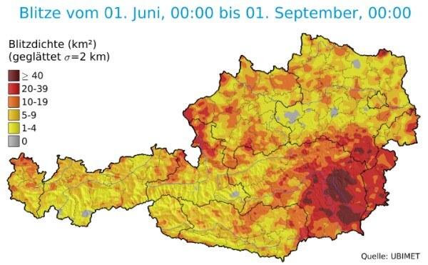 Vor allem in der Steiermark und im Burgenland gab es viele Gewitter