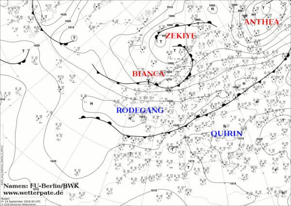 Aktuelle Wetterkarte mit Namen der Hoch-und Tiefdruckgebiete, 14.09.2018 @ www.wetterpate.de