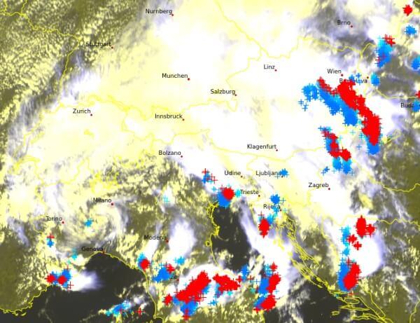 Aktuelles Satellitenbild. © EUMETSAT / UBIMET