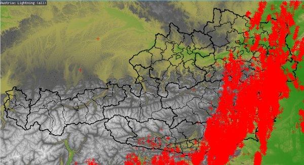 Besonders im Burgenland und in der Steiermark gab es bereits kräftige Gewitter.