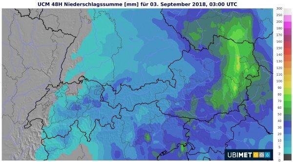 Vor allem im Süden und Osten sind noch große Regenmengen zu erwarten.