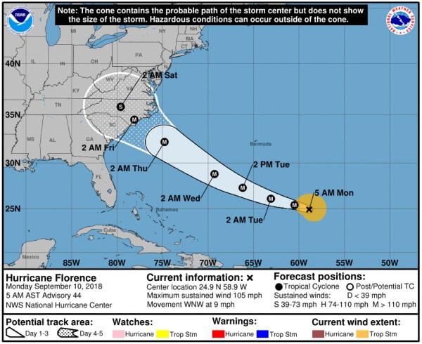 Florence trifft Donnerstagnacht auf den Südosten der USA.