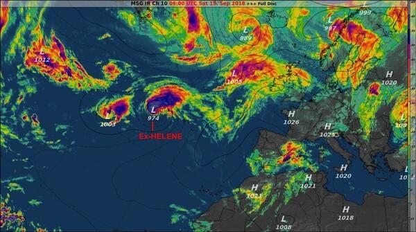 Infrarot-Satellitenbild von Samstag, 08:00 Uhr mit Ex-HELENE bei den Azoren @EUMETSAT, UBIMET