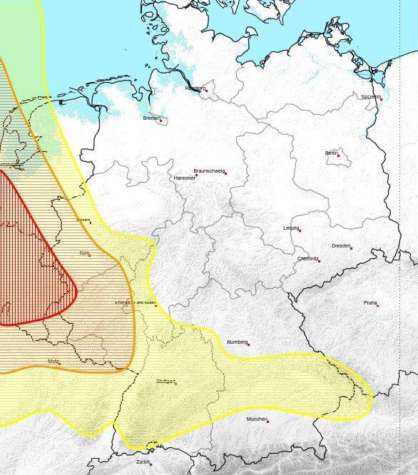 Vor allem in der Eifel gibt es kräftige Gewitter