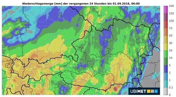 In Österreich fällt verbreitet Regen.