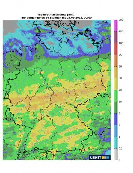 In der Mitte Deutschlands hat FABIENNE für kräftigen Regen gesorgt.