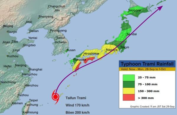 Besonders im südwest Japans regnet es kräftig