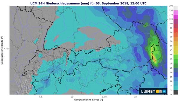 24 h Niederschlagsprognose von Sonntagmittag bis Montagmittag
