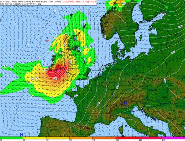 6-stündige Windböen nach dem amerikanischen GFS-Modell am Montagabend @ NOAA, UBIMET