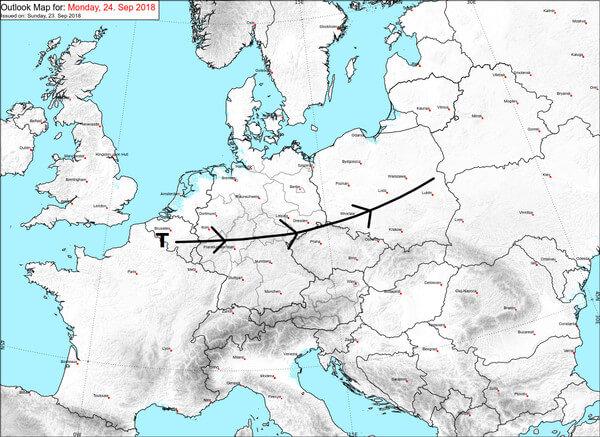 Fabienne zieht über Mitteleuropa hinweg.