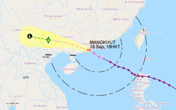 Zugbahn des Taifuns @ Hong Kong Obversatory, https://www.hko.gov.hk