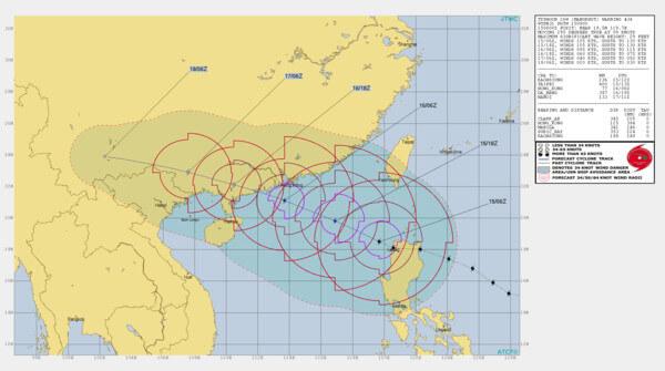 Prognostizierte Zugbahn des Taifuns Mangkhut @ JTWC