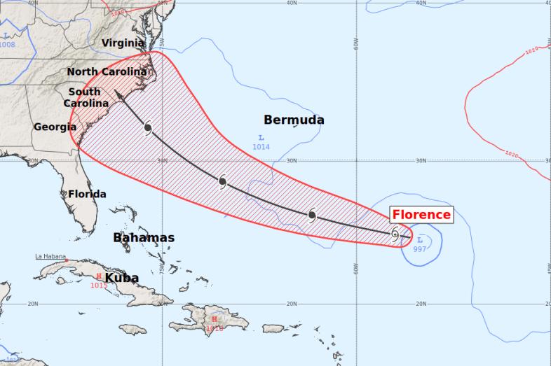 Wahrscheinlichste Zugbahn von Hurrikan FLORENCE