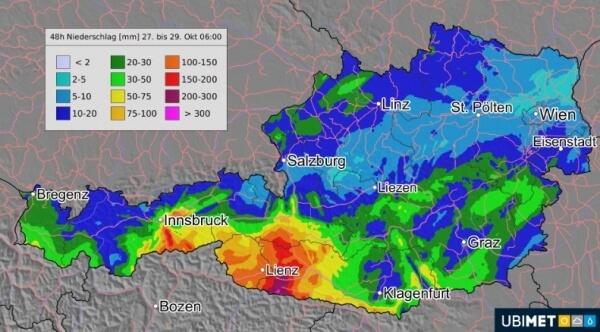 Besonders in Osttirol und Kärnten regnet es kräftig