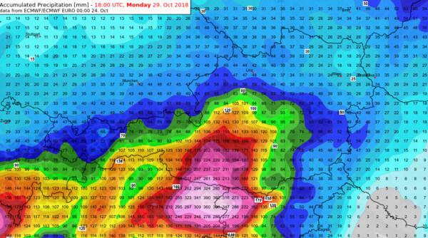 Aufsummierte Regenmenge bis Montagabend nach dem ECMWF-Modell @ UBIMET, ECMWF