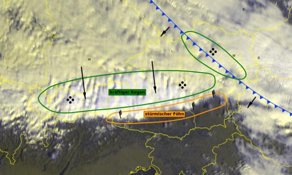 Aktuelles Satellitenbild von Montagmittag @ UBIMET