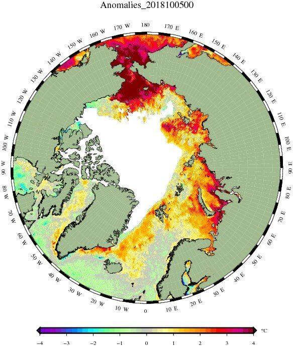 Die Wassertemperaturen liegen besonders im Randbereich der Arktis über dem Mittel.