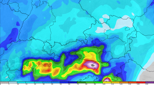 Aufsummierte Regenmengen der kommenden 7 Tage