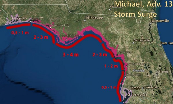 Die Sturmflut durch Hurrikan Michael erreicht bis zu 3 m