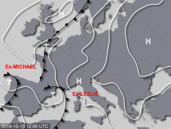 Frontenkarte für Montag, den 15.10.2018 mit den beiden Ex-Hurrikans MICHAEL und LESLIE bei der Iberischen Halbinsel @ UBIMET