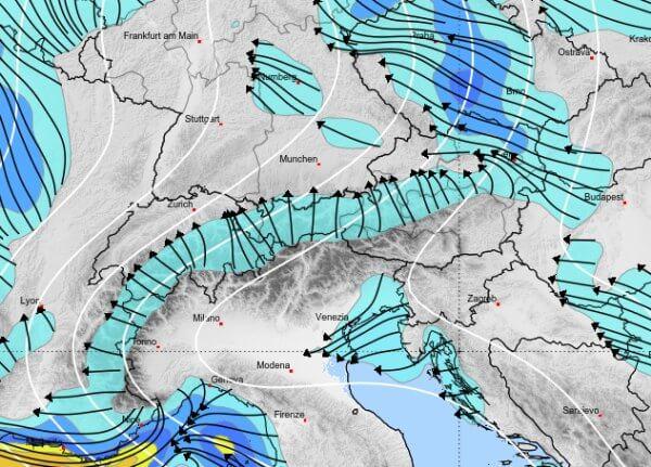 Im Alpenraum kommt eine föhnige Süd- bis Südostströmung auf.