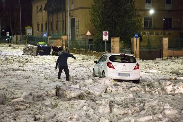 Hagelgewitter in Rom