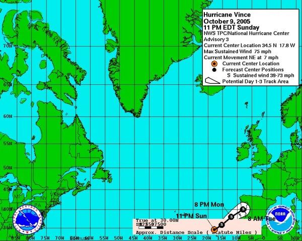 Hurrikan VINCE traf auf die Iberische Halbinsel