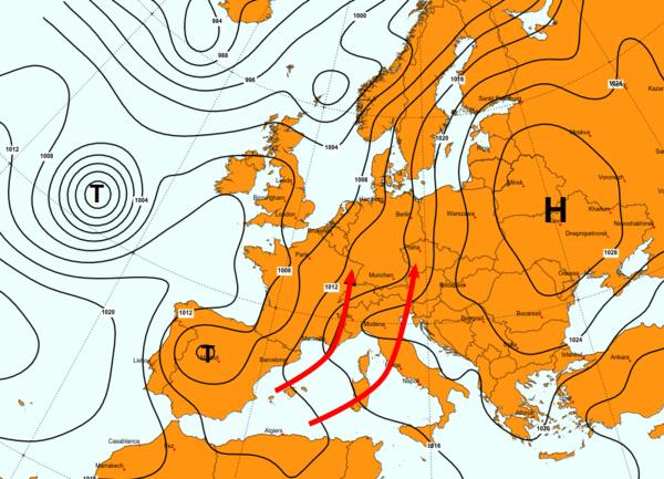 Hochdruckwetter in Mitteleuropa.