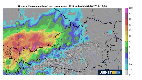 Gefallener Niederschlag über 12 Stunden bis Montagmittag, 12:00 Uhr (01.10.2018) @ UBIMET