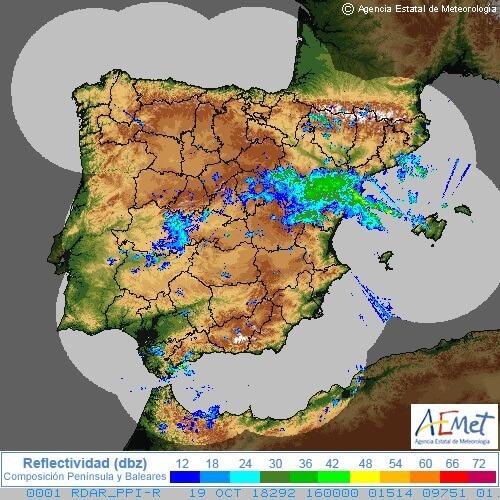 Ein kräftiges Gewitter lag an der Ostküste Spaniens