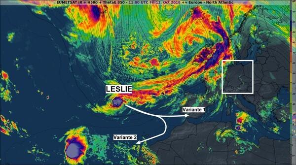Mögliche Zugbahnen von Hurrikan LESLIE.