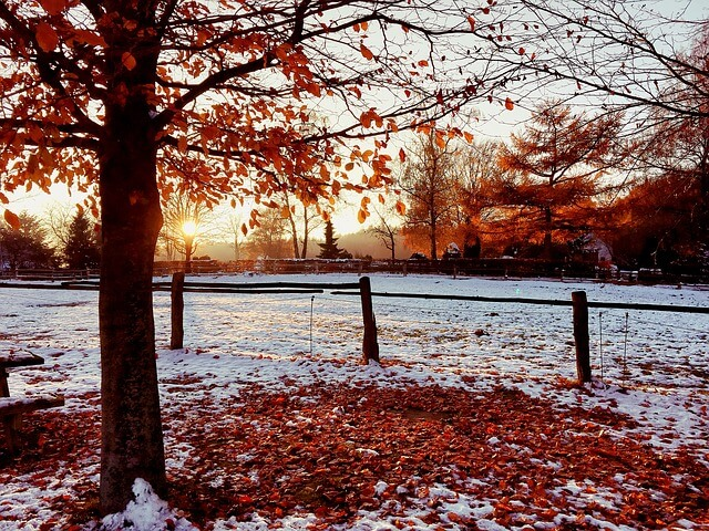 Im Oktober kann auch im Flachland der erste Schnee fallen.