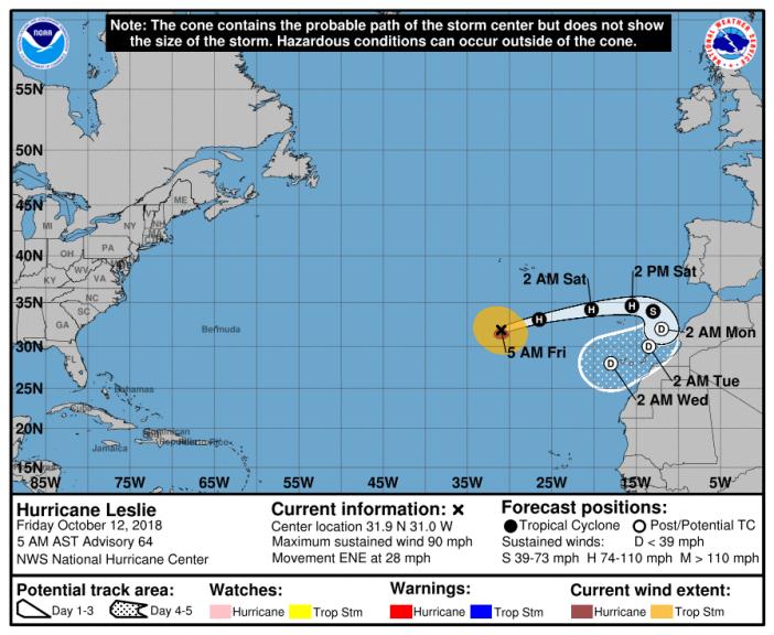 Mögliche Zugbahn des Hurrikans LESLIE.