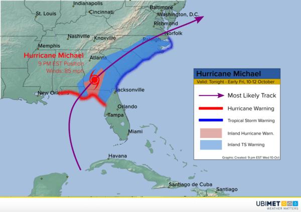 Zugbahn von Hurrikan Michael im Osten der USA.